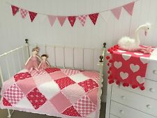 Shabby Chic Girls Baby Scarlet Cot Quilt Vintage Floral Patchwork RuffleTrim