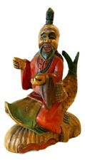 Vintage Asian Man Riding Koi Fish Figurine Chinese Good Luck Collectible Wood