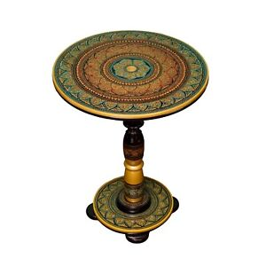 Lacquer Handmade wooden Round side table Hand Painted Coffee Table Home Décor