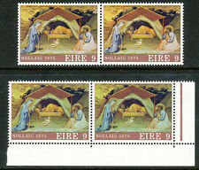 IRELAND 1976 Christmas, 9 (P) multicolored, The Birth of Christ U/M VARIETY
