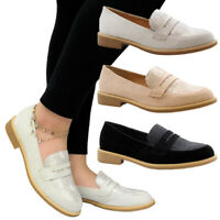 Ladies Women Flat Casual Black Snake Loafers Work Office Pumps School Shoes Size
