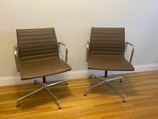 Set Of 2 Authentic Leather Herman Miller Eames Arm Side Chairs In Medium Brown