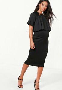boohoo maternity dress uk 10 women's layered black midi ladies