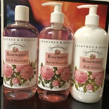 Lot Of 3 Crabtree & Evelyn Rosewater Bath & Shower Gel & Lotion 16.9 Oz Each