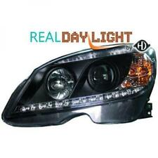 LHD Projector LED DRL Headlights Pair Clear Black For Mercedes C Class W204