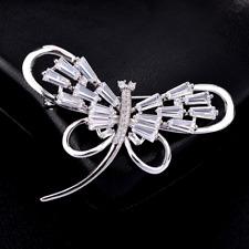 Bridal Party Jewelry Brooch Pin Cute Dragonfly Silver Rhinestone Crystal Wedding