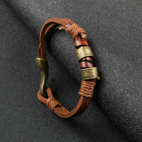 Fashion Women Mens Surfer Cool Cords PU Leather Bracelet Wristband Cuff Brown