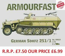 Armourfast 1/72 Sdkfz 251/1 Halftrack  Model Kit - Contains 2 Items (14073)
