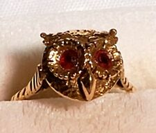 14 kt Gold Owl Ring with Rubies for Eyes