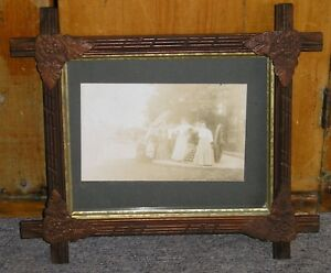 Antique Gettysburg High Water Mark Photograph Black Forest Picture Frame 8 x 10