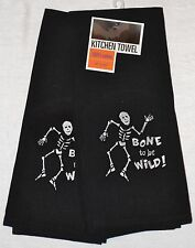 2 Tea Towels~Dancing Skeleton~Bone to be Wild~Black~Halloween~Kitchen~Towel~NEW