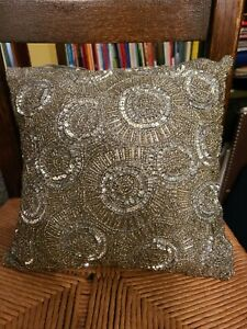 """Pier 1 Imports Silver Metallic Beaded Embellished Toss 12"""" Square Pillow"""