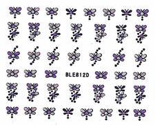 Nail Art Glitter Sticker Nailart Tattoo Glitzer Butterfly Silber Lila Ble-812D