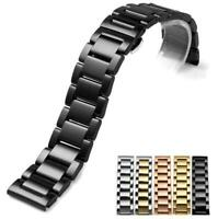 Curved Stainless Steel Watch Band Strap Clasp Links Replacement 18 20 21 22 24mm