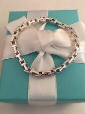 """Tiffany & Co Sterling Silver T Narrow Chain Bracelet  7"""". RRP $990"""