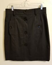 Worth Skirt 10 Black Pockets Large Buttons Cotton Stretch Knee Length Career