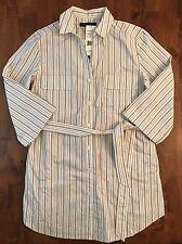 Lafayette 148 New York Stripe Utility Tie Waist Tunic Blouse sz P NWT$328