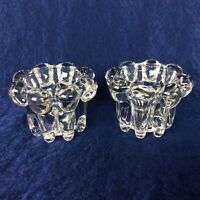 """Vintage Glass Candle Holders 2"""" X 3"""" Set of 2 Kig Indonesia Forever Clear"""