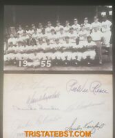 "1955 Brooklyn Dodgers Team Card, 3""x5"" Facsimile Autographs on back! RARE"
