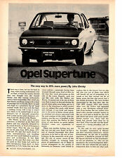1971 OPEL SUPERTUNE / 25% MORE HORSEPOWER  ~  ORIGINAL 3-PAGE/ ARTICLE / AD