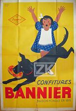 ROLAND ANSIEAU Confitures BANNIER Enfant Chien Publicité Adv Poster Affiche 40s