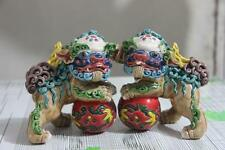 Chinese Art WuCai pottery porcelain Evil Guardian Lion Foo Fu Dog Play ball Pair