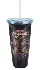 Harry Potter Hogwarts Travel Cup with Straw - Acrylic Tumbler with Gold Hogwarts