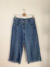 Zara TRF Zip Front Denim Wideleg Culottes Pants Frayed Hem Size Eur 38 US 6