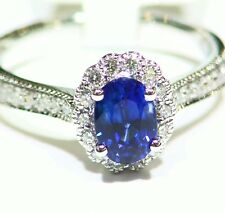 .92CT 14K GOLD NATURAL SAPPHIRE ROUND CUT WHITE DIAMOND ENGAGEMENT RING VINTAGE