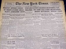 1946 DECEMBER 9 NEW YORK TIMES - MINERS RETURN, OPPOSE FINES - NT 2965
