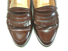 Lanvin Paris 11 M Brown Penny Loafers #2148 034 Slip-on Fringed All Leather