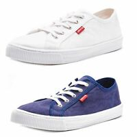 Levis Malibu Beach Canvas Lace Up Plimsolls Trainers in White & Blue