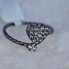 CZ Cubic Zirconia Heart Wrap Ring Black Sterling Silver Love  Bridal