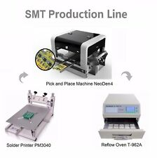 SMT Line Pick and Place Machine NeoDen4 w 19 Feeders+Solder Printer+Reflow Oven