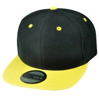 Blank Plain Two Tone Black Yellow Adjustable Snapback Flat Bill Acrylic Hat Cap