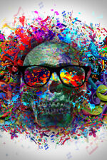 Graffiti Colorful Abstract Art Skull Poster 12x18 inch