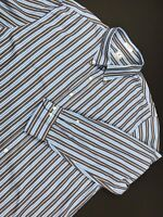Peter Millar Mens Shirt XL Long Sleeve Button Down Blue Brown Striped Cotton