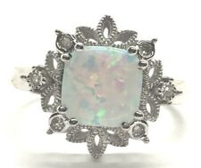 Sterling Silver Cushion Opal Floating Diamonds Snowflake Elegant Cocktail Ring