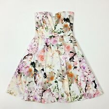 ASOS Womens Strapless Skater Dress Floral A Line Size XS US 0 EU 32