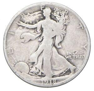 Better Date 1918-D Walking Liberty 90% Silver US Half Dollar *053