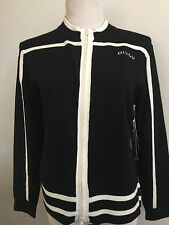 Bisou Jeans Black With White Stripes Double Zipper Knit Cardigan Size Large