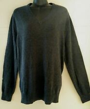 Merona Womens Sweater Pullover Long Sleeve V-neck Large Charcoal/Black