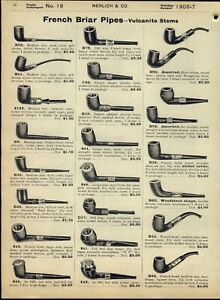 1906/7 PAPER AD 7 PG French Briar Smoking Pipe Pipes Gold Silver Meerschaum