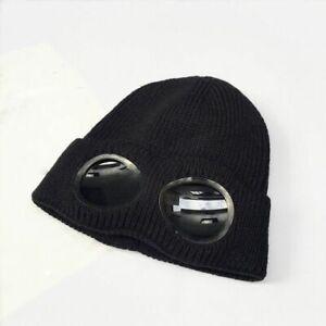 Winter Glasses Knitted Hat Men Women Warm Beanie Fleece Ski Cycling Cap Outdoor