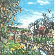 1 Lunch Papier Serviette Napkin (RS633) Bauer auf dem Feld mit Pferden
