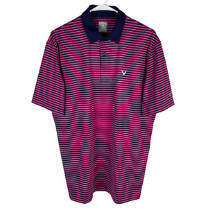 Callaway Opti-Dri Polo Golf Shirt Men's Medium Pink Navy Blue Striped Breathable