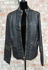 Big Chill women's faux leather jacket XL black w/ gold distressed highlights NWT