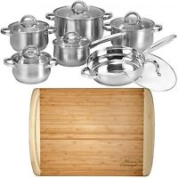 "12 Piece Cookware Set Stainless Steel Pots Pans + 1"" Large Bamboo Cutting Board"