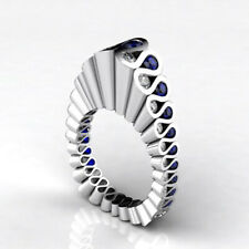 Unique Blue & White Sapphire Cocktail Ring Engagement Wedding Jewelry Dainty