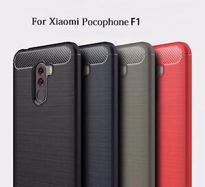 Carbon Fibre TPU Rugged Gel Case Silicone Skin Cover For Xiaomi Pocophone F1